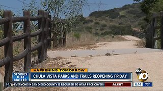 Chula Vista parks, trails reopening Friday