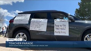 Teacher parade for Shaw Heights Middle School students