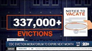 CDC eviction moratorium set to expire next month