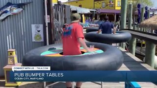 Maryland bar turns to innertube tables to enforce social distancing