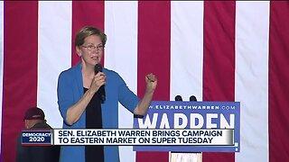 Senator Elizabeth Warren brings campaign to Eastern Market on Super Tuesday