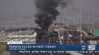 1 dead after car catches on fire following crash on Loop 202 near 17th Avenue