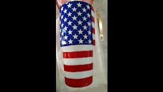 30 oz Hand Painted American Flag Tumbler