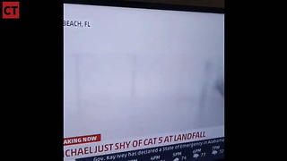 Scary Moment Weatherman Nearly Impaled During Hurricane Michael Coverage
