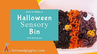 Halloween Sensory Bin - Dyed Pasta