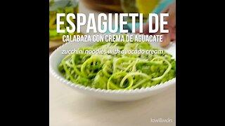 Pumpkin spaghetti with avocado cream