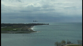 Plane taking off from Billy Bishop Island Airport