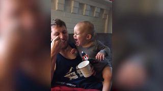 Adorable Baby Boy Loves Ice Cream