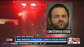 Man arrested after short chase in stolen vehicle