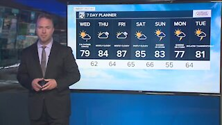 Partly to mostly cloudy, shower possible overnight