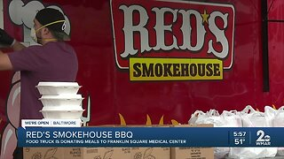 Red's Smokehouse BBQ food truck is donating meals to Franklin Square Medical Center