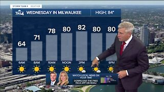 Wednesday is sunny with temps in the 80s