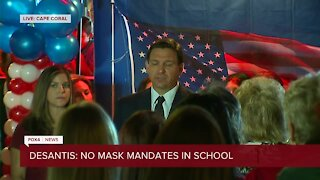 Gov. DeSantis held a press conference at Two Meatballs in the Kitchen restaurant in Cape Coral