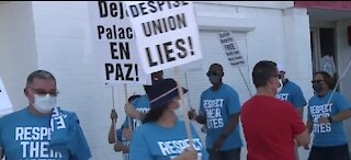 Station Casinos employees picket in front of Culinary Union offices