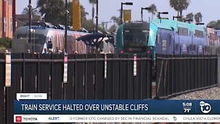 Train service halted over unstable cliffs