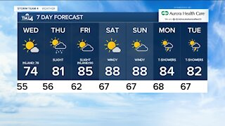 Wednesday is sunny with highs in the 70s