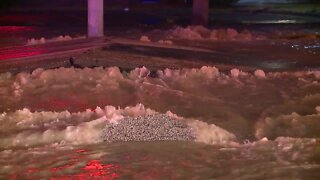 A large water main break has closed Pearl Road from York to Ackley Road.