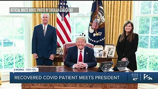 Recovered COVID-19 patient meets President Trump