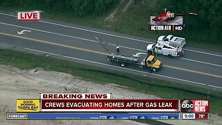 Pasco homes evacuated after truck hits power line causing gas leak