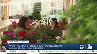 Baltimore City moving to Stage 2 tomorrow