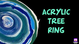 (54) 💚 Tree Ring Pour in Blues -Acrylic Pouring