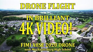 Drone Flight in Brilliant 4K Video with Fimi X8SE 2020 at Mechanicsburg HS
