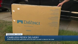 Expectant mother displeased with FedEx after new crib left at curb
