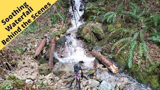 soothing waterfall behind the scenes