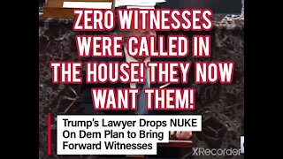 Zero witnesses were called in the HOUSE! NOW THEY WANT WITNESSES!