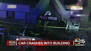 Car crashes into building near I-17 and Dunlap