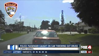Police: passenger caught on camera throwing out drugs
