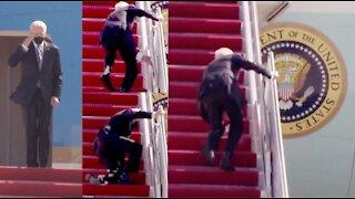 Joe Biden stumbles upon a staircase