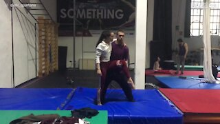 Gymnast couple lets off steam during training