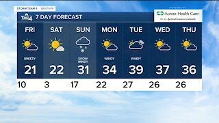 More chilly days and snow on Sunday