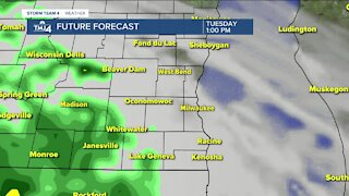 Tuesday is cloudy with on and off rain showers