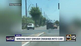 Wrong-way driver crashes into car