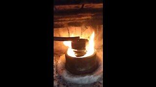 Gen II waste oil burner in place and burning