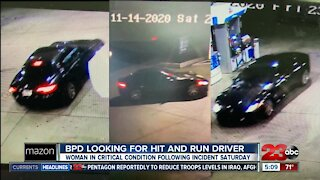Bakersfield Police searching for car involved in a hit-and-run that left a women in critical condition