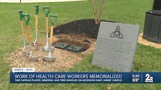 Ascension Saint Agnes Hospital dedicates COVID-19 time capsule, memorial