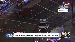 DPS trooper, second driver hospitalized after crashing in Chandler