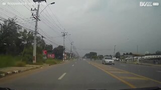 Motorcyclist suffers powerful electric shock on highway
