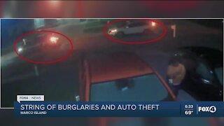 String of vehicle burglaries