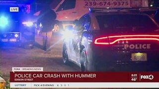 Police car crash with hummer
