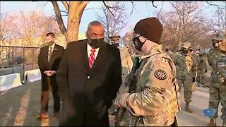 Defense Secretary Visits National Guard Troops at Capitol