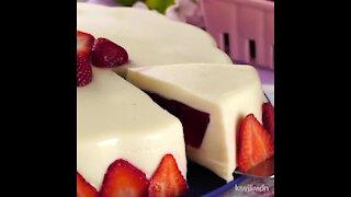 Condensed Milk and Strawberry Gelatin