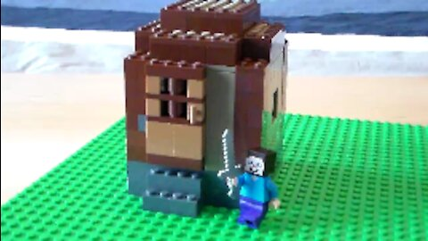 Lego Minecraft Mini-Fig Scale Village Wood Hovel Tutorial
