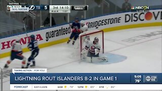 Tampa Bay Lightning rout New York Islanders to take Game 1 of Eastern Conference Finals