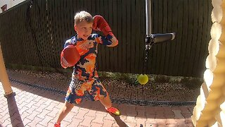 AMAZING NINE-YEAR-OLD SHOWS OFF INCREDIBLE HAND SPEED DURING INTENSE BOXING TRAINING EXERCISE