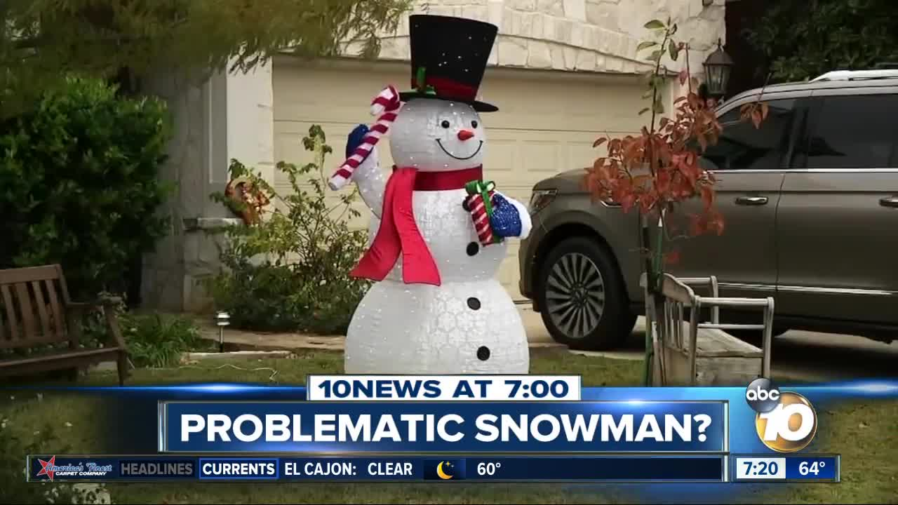 Family ordered to remove Christmas snowman?