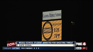 Middle school student arrested for shooting threat